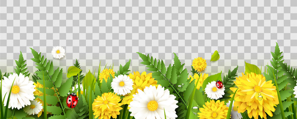 Garden Poster Pattern Spring time seamless border