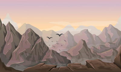 vector mountain landscape illustration. beautiful horizontal nature background with hills and peaks at vivid sunset. Rocks and sky at sunrise with mist, clouds and flying birds. outdoor travel scene.