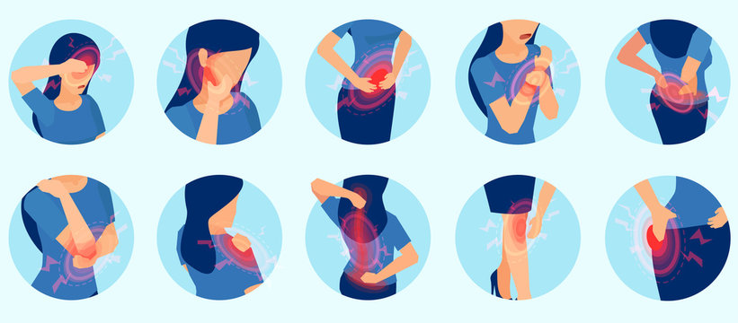Vector set of a woman with body pain