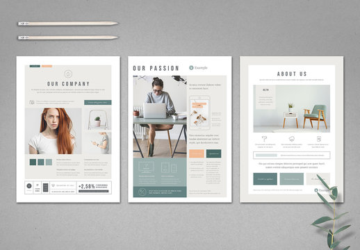 Mint and White Flyer Layout with Pale Peach Accents