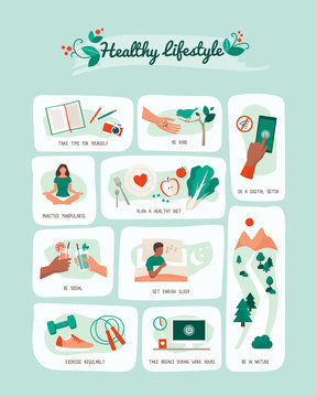 Healthy lifestyle and self-care infographic