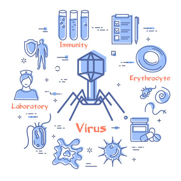Vector concept of bacteria and viruses - bacteriophage icon