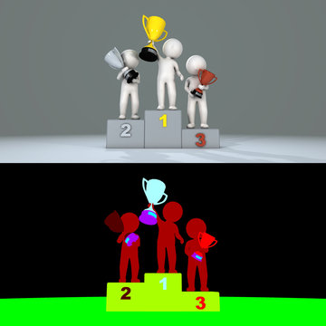 Stickman raises trophy on podium, 3D render
