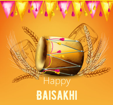 Watercolor happy baisakhi greeting card with wheat spice