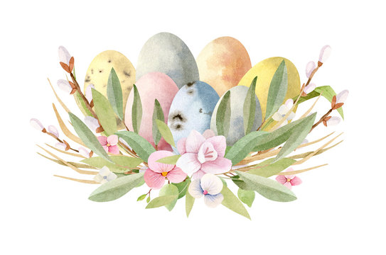 Watercolor spring Easter hand painted illustration