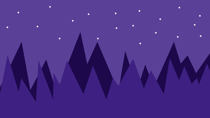 Poster Violet Abstract blue 2d night forest landscape