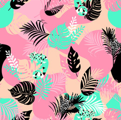 Printed kitchen splashbacks Watercolor Nature Exotic tropical foliage an camouflage chameleon in trendy colors artwork for tattoo, fabrics, souvenirs, packaging, greeting cards and scrapbooking,bed linen,wallpaper
