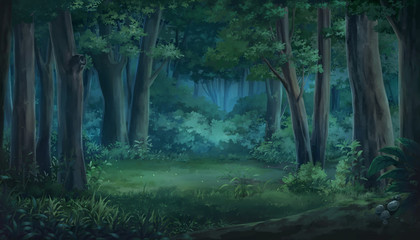 Light and forest - Night , Anime background , Illustration.