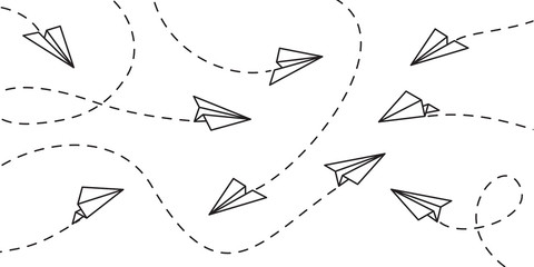 Airplane flight route line path and destination point. Paper planes travel dash line on vector white pattern background