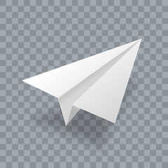 Paper plane vector realistic 3D model. White paper airplane jet isolated on transparent background