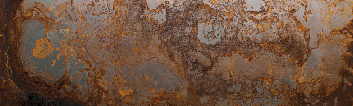 Steel textured metal sheet with heavy rust. Background banner. Top view. Flat lay