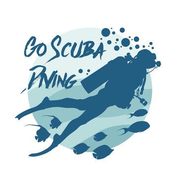 Scuba diving logo. Vector logotype or badge for Diving Center. Scuba diver silhouette.