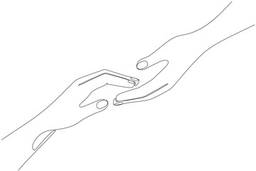 Hand reaches for hand one line drawing on white isolated background. Vector illustration