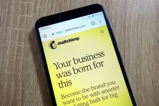 KONSKIE, POLAND - January 10, 2019: Mailchimp website (mailchimp.com) displayed on smartphone