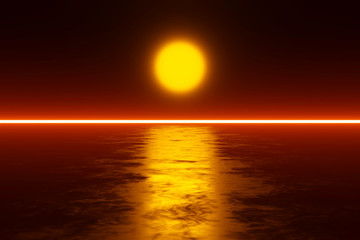 Photo sur Plexiglas Marron Scifi Sunset over a alien Planet