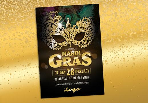 Mardi Gras Carnival Gold Masquerade Poster Layout