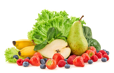 Fresh fruits healthy diet concept. Raw mixed vegan juicy food background, green spinach, salad isolated on white. Variety of fresh fruit berries for juice or smoothie. Health clean eating Wall mural