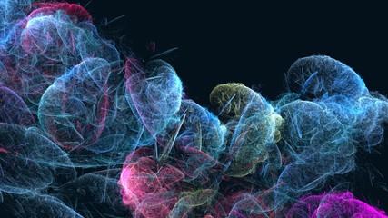 Poster Fractal waves Abstract computer generated fractal lines design shapes. Digital colorful illustration art work of rendering chaotic dark background. 3d rendering.