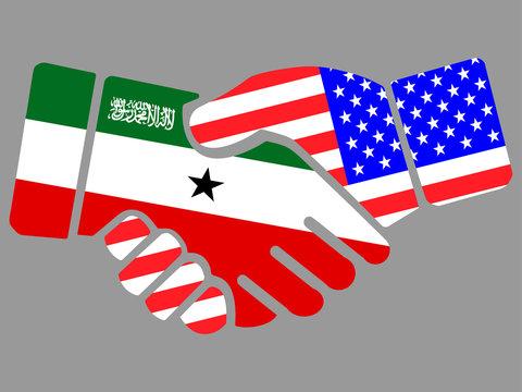 Republic of Somaliland and USA flags Handshake vector