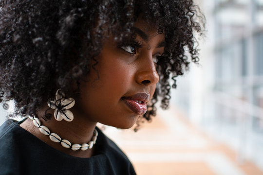 Portrait of Beautiful Black Woman with Curly Hair