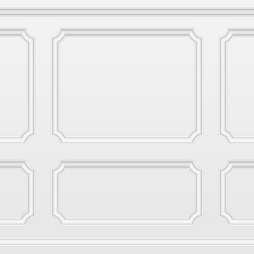White wall with moulding frames seamless background. Moulding panels classic home decoration. Living room interior. Vector illustration in realistic style. EPS 10.