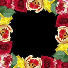 Fototapete - Beautiful floral pattern of tulips and roses. Isolated