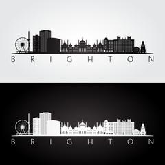 Brighton skyline and landmarks silhouette, black and white design, vector illustration.