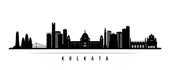 Kolkata skyline horizontal banner. Black and white silhouette of Kolkata, India. Vector template for your design. Papier Peint