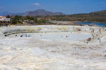 thermal mud on the island of Vulcano, Aeolian Islands, Messina, Sicily, Italy