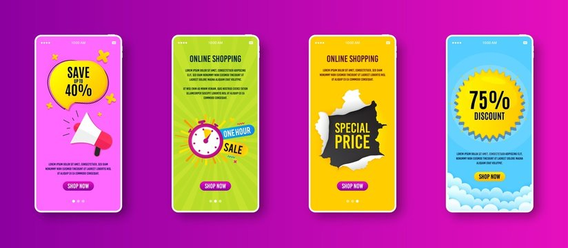 One hour sale icon. Phone screen banner. Discount banner shape. Special offer timer icon. Sale banner on smartphone screen. Mobile phone web template. One hour promotion. Vector