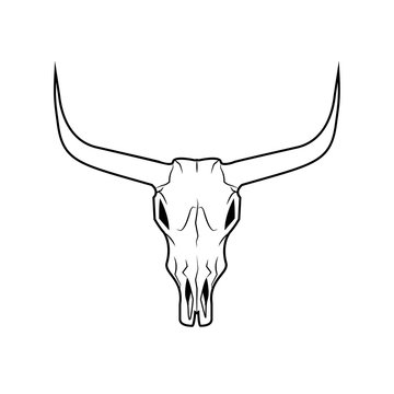 Bull skull with horns, native americans sign, flat illustration isolated on the white background