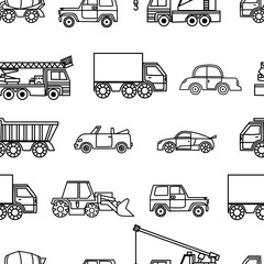 Tuinposter Cartoon cars car seamless pattern, black and white cartoon background, coloring book, monochrome drawing. Black and white cars on a white background. For the design of wallpaper, wrapper, fabric