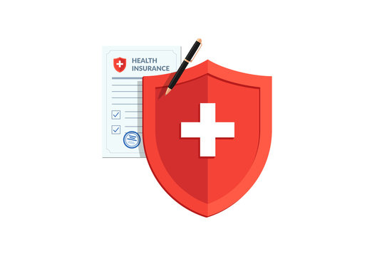 Medical healthcare insurance concept. Red shield on patient protection policy and pen. Vector medicine flat symbol illustration