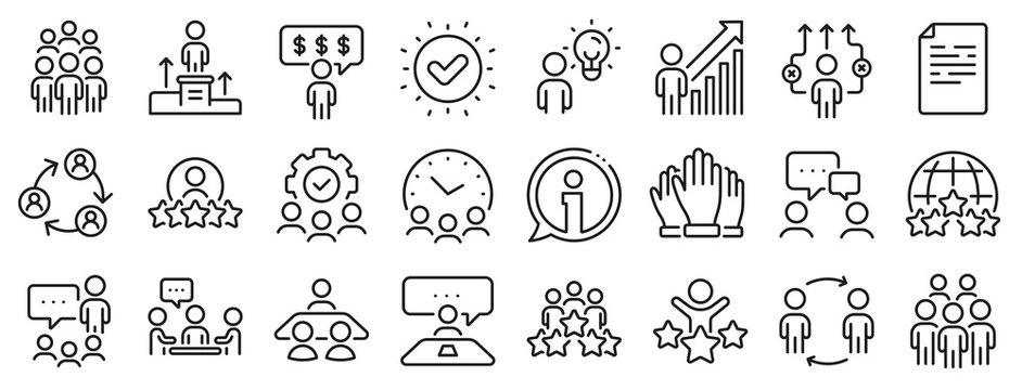Team, meeting, job structure. Business people line icons. Group people, communication, member icons. Congress, talk person, partnership. Job interview, business idea, voting. Vector