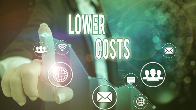 Conceptual hand writing showing Lower Costs. Concept meaning the business sets low price to enhance theproduct deanalysisd