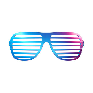 Trendy gradient shutter shade sunglasses isolated on white background. Trendy fashion style. Minimal design art. 3d illustration.