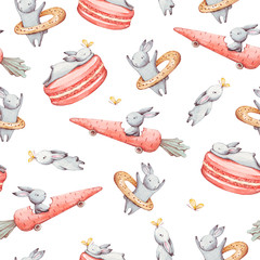 Cute watercolor seamless pattern. Wallpaper with party cupcakes and beautiful fantasy bunneis cartoon animals on white background. Hand drawn vintage texture.