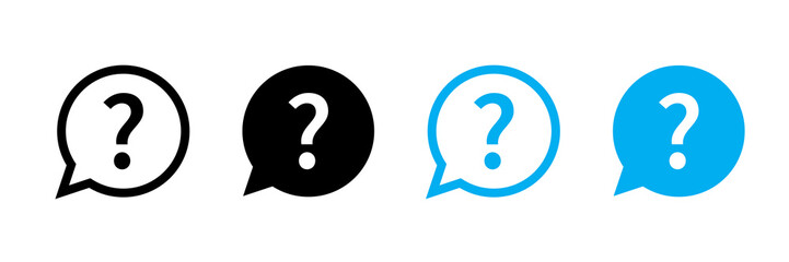 Question mark set of vector isolated icons. Help sign speech bubble. Chat question icon. Question concept.
