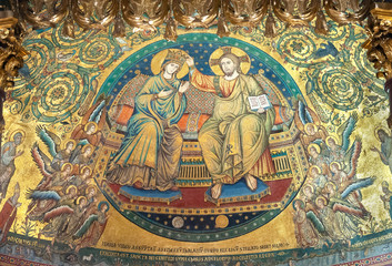 Jacopo Torriti's mosaic 'The Coronation of the Virgin Mary' (1296) in the apse of the Papal Basilica of Santa Maria Maggiore, Rome, Italy