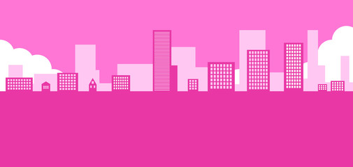 Garden Poster Pink Abstract pink 2d city background. Beautiful pink skyline illustration