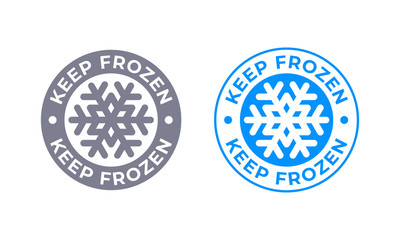 Obraz Keep frozen vector food product package label. Keep frozen in fridge, snowflake icon - fototapety do salonu