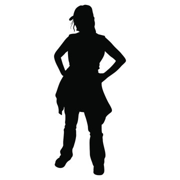Isolated vector illustration. Standing tourist girl in casual clothes. Hands on hips young woman. Black silhouette on white background.