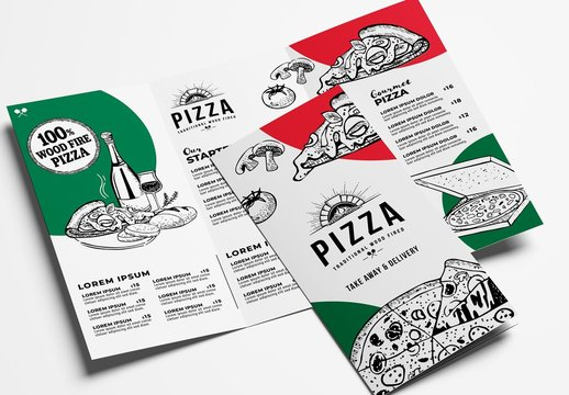 Pizza Restaurant Trifold Menu Layout