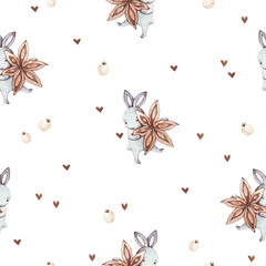 Cute baby rabbit animal with anise star and white berry seamless pattern, illustration for children clothing. Hand drawn watercolor image for cases design, nursery posters, postcards, print.
