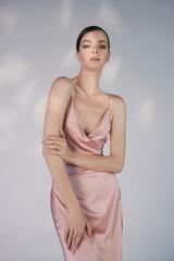 Printed roller blinds womenART Beautiful woman pose in studio in pink classic dress