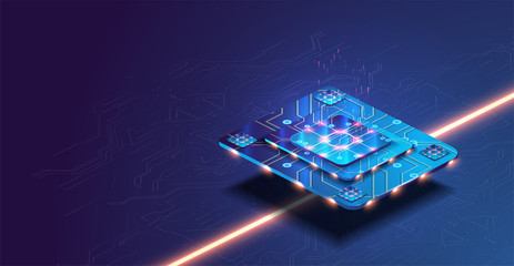 Futuristic microchip processor with lights on the blue background. Quantum computer, large data processing, database concept. Future technology development CPU and microprocessors for machine learning