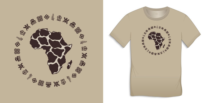 Print on t-shirt graphics design, Africa Map Globe with Adinkra symbols, African hieroglyphs motive image, isolated on background vector