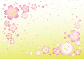 桜テクスチャ【和風黄緑グラデ】