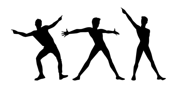 set of black man silhouettes on white background. A male street dance hip hop dancers. Vector isolated mans for logo, sticker, logotype, icon, banner, poster. Illustration for dance studio