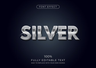 Silver text effect. Editable font style